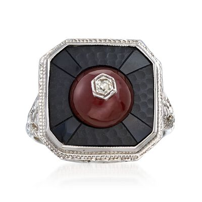 C. 1950 Vintage Black Onyx and Carnelian Ring with Diamond Accents in 18kt White Gold, , default