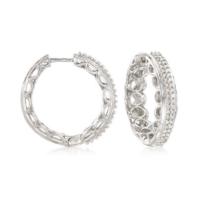.50 ct. t.w. Diamond Scalloped Hoop Earrings in Sterling Silver, , default