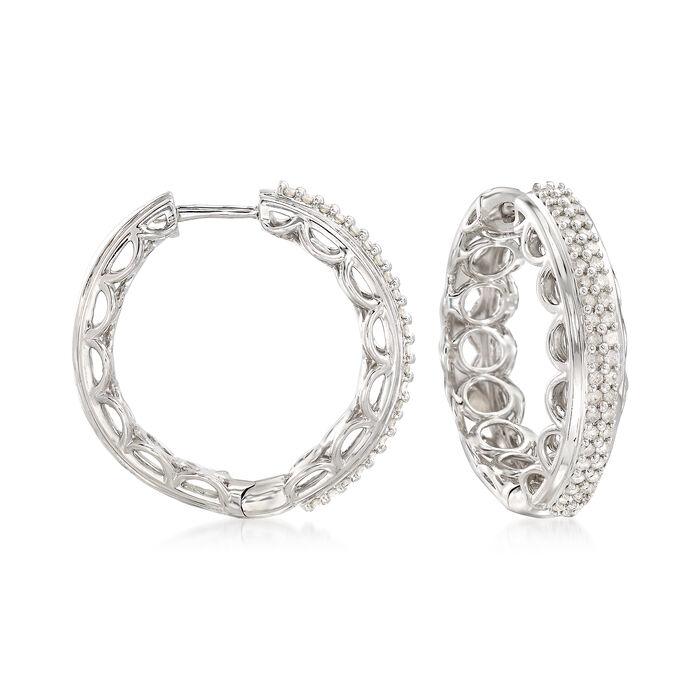 """.50 ct. t.w. Diamond Scalloped Hoop Earrings in Sterling Silver. 7/8"""""""