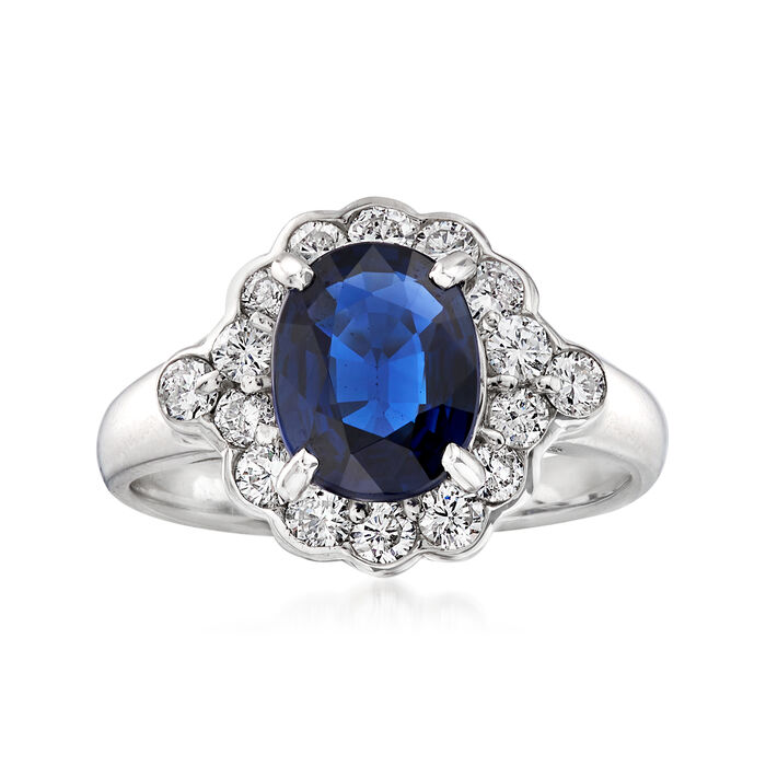C. 2000 Vintage 3.75 ct. t.w. Diamond and 1.59 Carat Sapphire Ring in Platinum. Size 5.5, , default