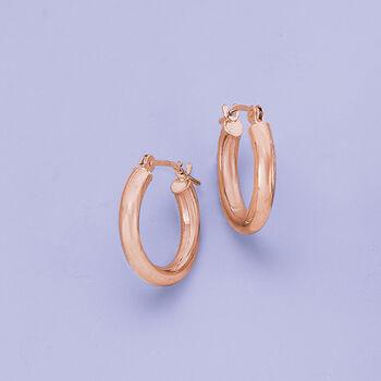 "3mm 14kt Rose Gold Small Hoop Earrings. 5/8"", , default"
