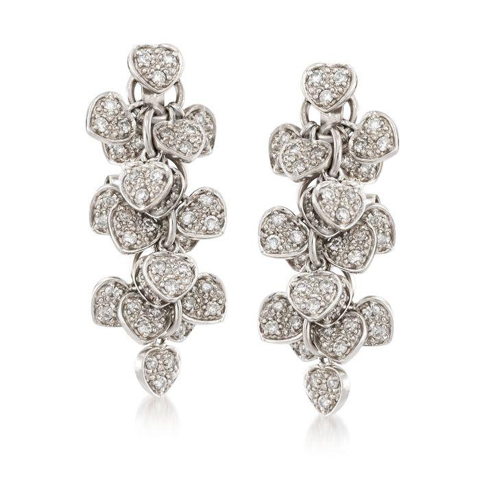 C. 1990 Vintage 1.00 ct. t.w. Diamond Heart Cluster Drop Earrings in 18kt White Gold