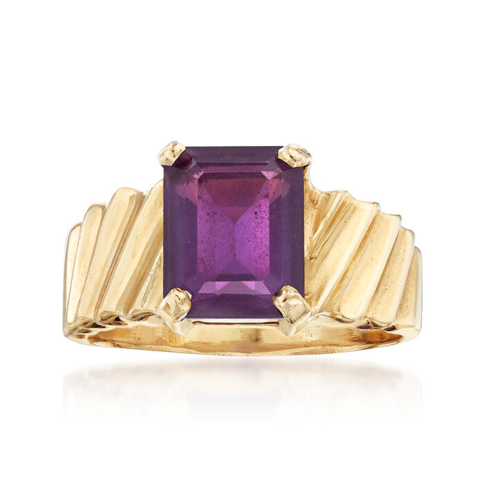 C. 1980 Vintage 3.00 Carat Amethyst Ring in 14kt Yellow Gold. Size 8.5