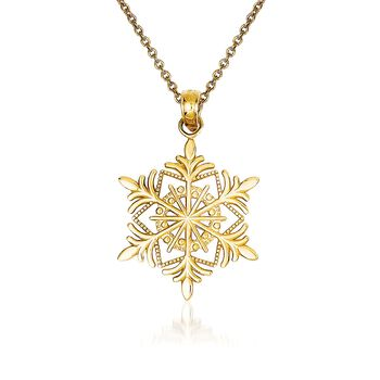 "14kt Yellow Gold Snowflake Pendant Necklace. 18"", , default"
