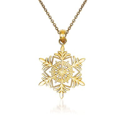 14kt Yellow Gold Snowflake Pendant Necklace, , default