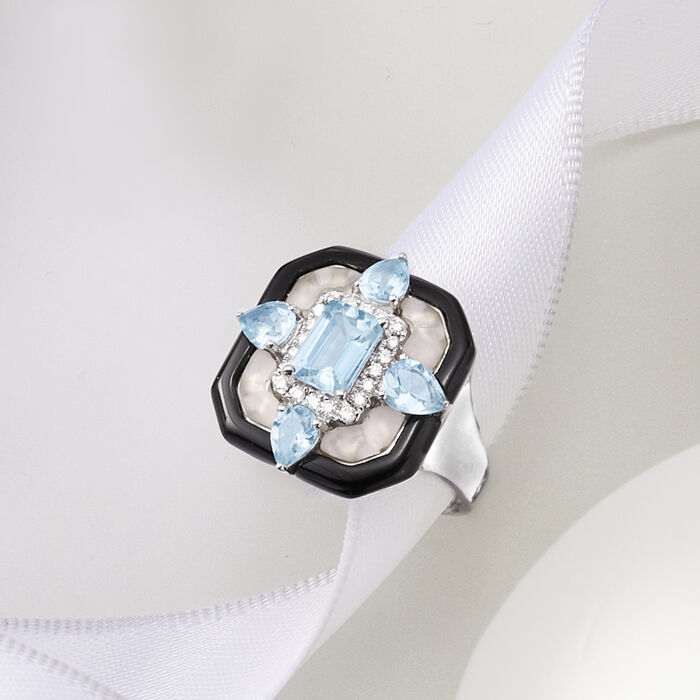 Black Onyx, Rock Crystal, 1.90 ct. t.w. Aquamarine and .15 ct. t.w. Diamond Ring in 14kt White Gold