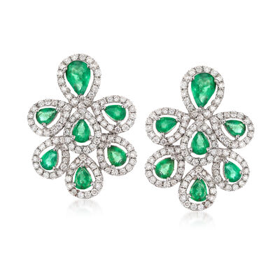 2.10 ct. t.w. Emerald and 1.25 ct. t.w. Diamond Earrings in 18kt White Gold, , default