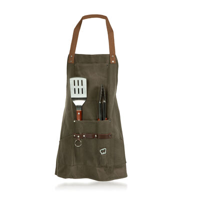 Khaki Green Bbq Apron with Set of 3 Tools