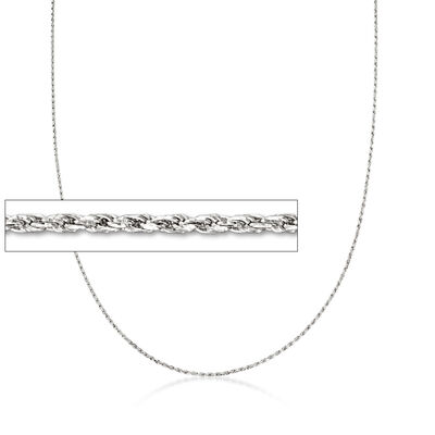 1mm 14kt White Gold Adjustable Rope Chain Necklace