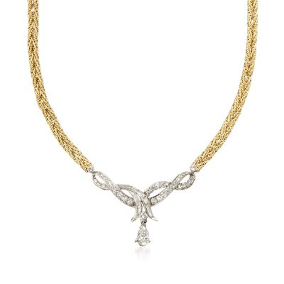 C. 1980 Vintage 2.90 ct. t.w. Certified Diamond Ribbon Necklace in 14kt Two-Tone Gold, , default