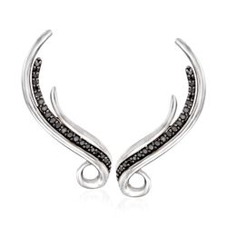 .25 ct. t.w. Black Spinel Swirling Ear Climbers in Sterling Silver, , default