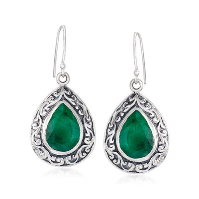 11.00 ct. t.w. Emerald Scroll Drop Earrings in Sterling Silver
