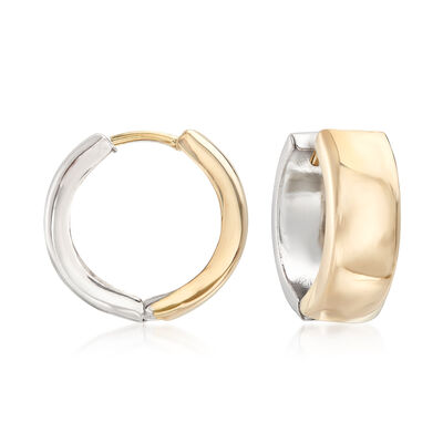 Sterling Silver and 14kt Yellow Gold Reversible Huggie Hoop Earrings, , default
