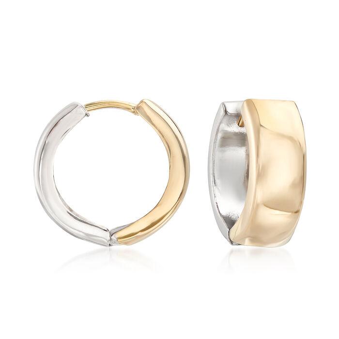 """Sterling Silver and 14kt Yellow Gold Reversible Huggie Hoop Earrings. 1/2"""", , default"""