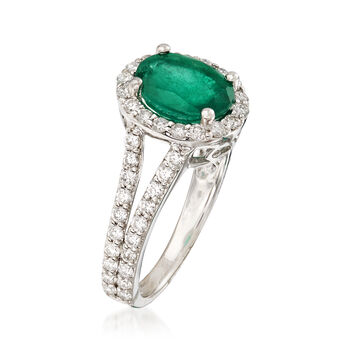 1.60 Carat Emerald and .85 ct. t.w. Diamond Ring in 14kt White Gold