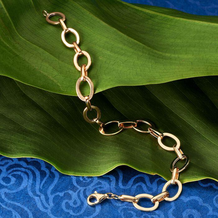14kt Yellow Gold Flat Oval-Link Bracelet