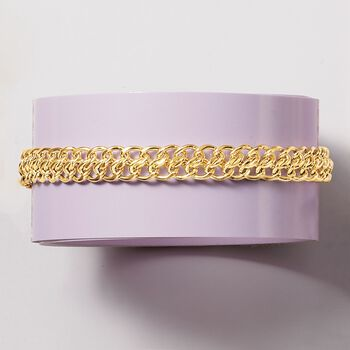 Italian 18kt Yellow Gold Flat-Link Chain Bracelet, , default
