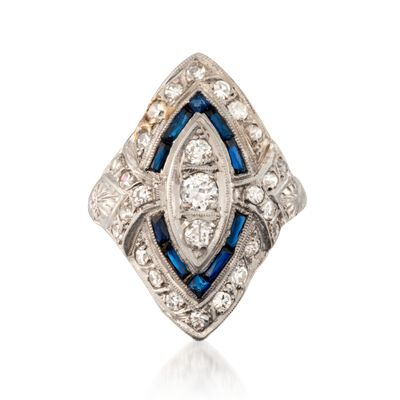 C. 1960 Vintage .15 ct. t.w. Created Sapphire and .60 ct. t.w. Diamond Dinner Ring in Platinum, , default
