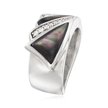 """Belle Etoile """"Empire"""" Black Mother-Of-Pearl and .16 ct. t.w. CZ Ring in Sterling Silver, , default"""