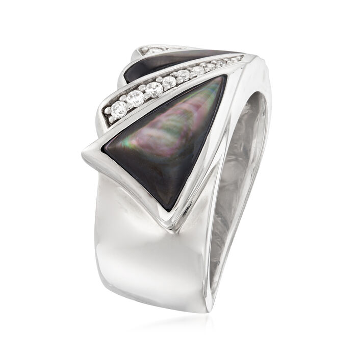 """Belle Etoile """"Empire"""" Black Mother-Of-Pearl and .16 ct. t.w. CZ Ring in Sterling Silver"""