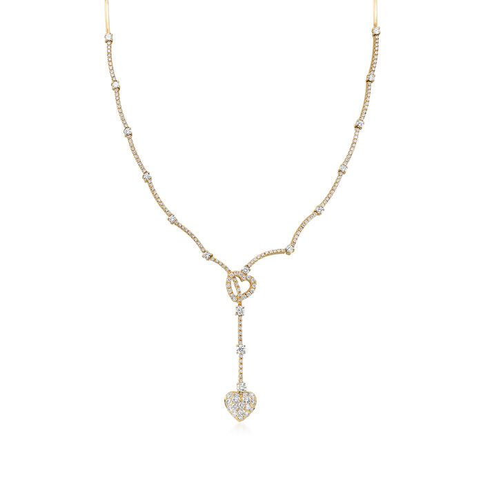C. 1990 Vintage 3.00 ct. t.w. Diamond Double-Heart Lariat Drop Necklace in 14kt Yellow Gold. 16""