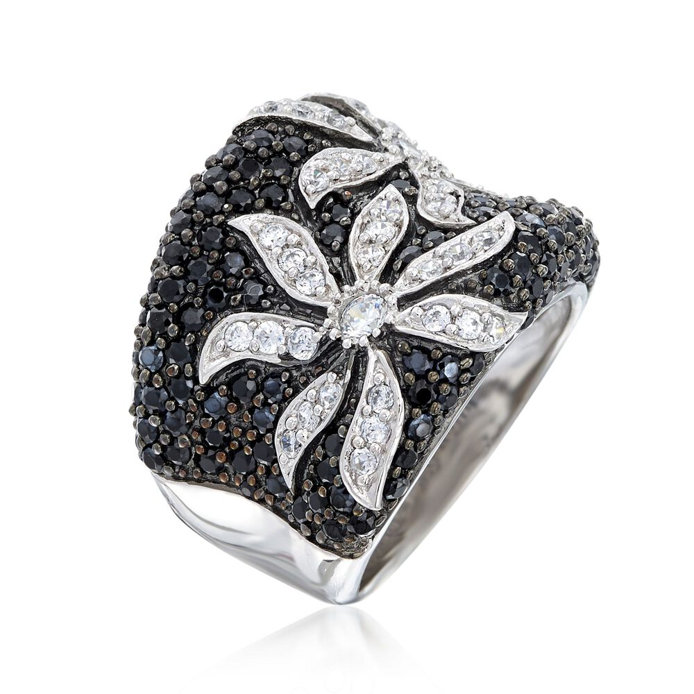 84abad61c t.w. Black and White CZ Flower Ring in Sterling Silver , , default ...