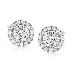 2.00 ct. t.w. Diamond Halo Earrings in 14kt White Gold, , default