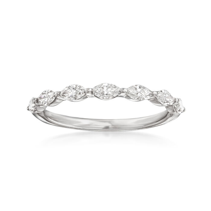 Henri Daussi .49 ct. t.w. Diamond Marquise Wedding Ring in 14kt White Gold, , default