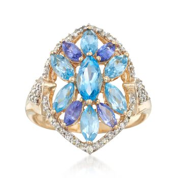 3.26 ct. t.w. Multi-Stone Marquise Ring in 14kt Yellow Gold, , default