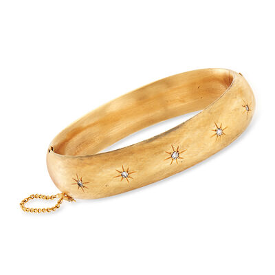 C. 1970 Vintage .20 ct. t.w. Diamond Star Bangle Bracelet in 14kt Yellow Gold, , default