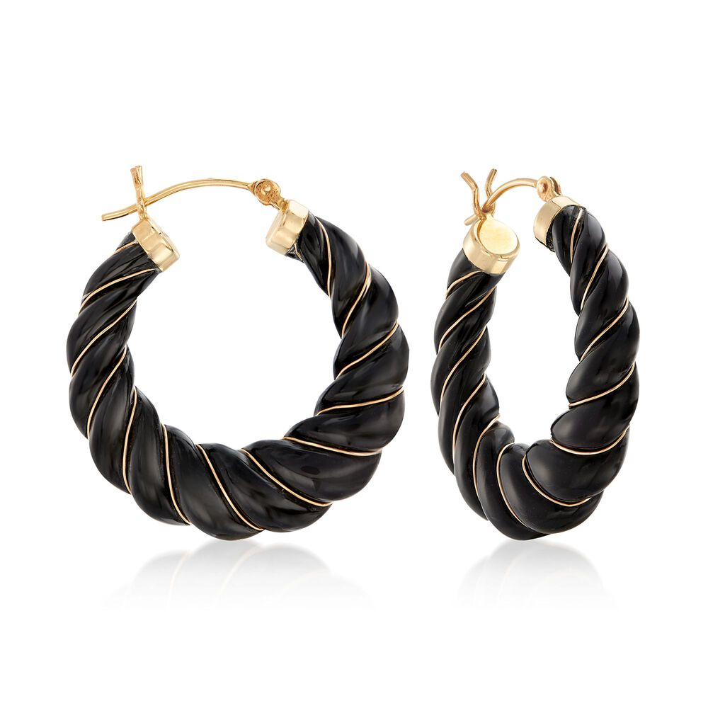 01e9feba36b Carved Black Onyx Hoop Earrings with 14kt Yellow Gold. 1 1/8