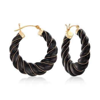 "Carved Black Onyx Hoop Earrings With 14kt Yellow Gold. 1 1/8"", , default"