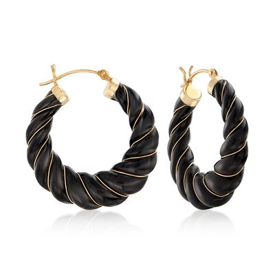 Carved Black Onyx Hoop Earrings with 14kt Yellow Gold, , default