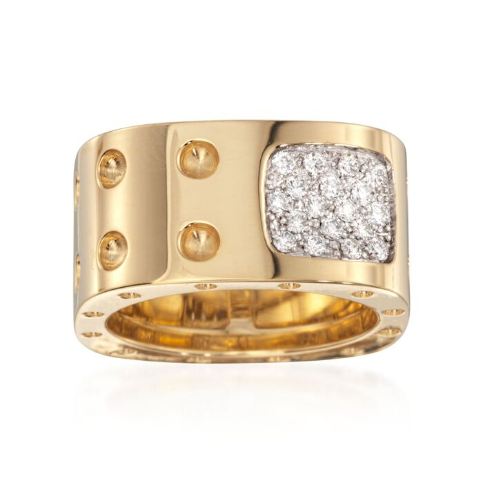 "Roberto Coin ""Pois-Moi"" .28 ct. t.w. Diamond Square Ring in 18kt Yellow Gold. Size 7"
