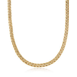14kt Yellow Gold Wheat-Link Necklace, , default