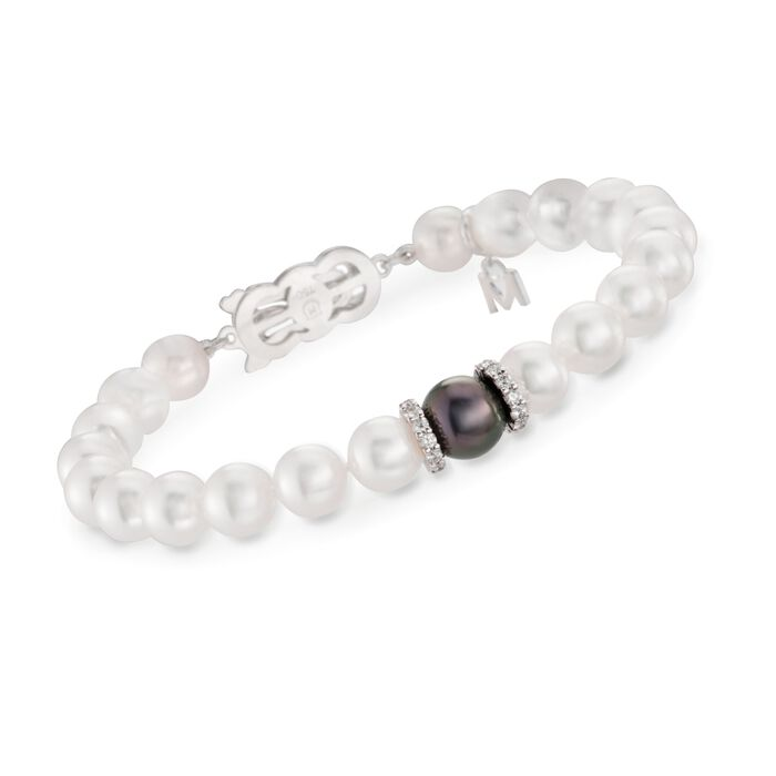 "Mikimoto ""Everyday Essentials"" 7-7.5mm A+ Akoya and 10mm Black South Sea Pearl Bracelet with Diamonds in 18kt White Gold. 7"""
