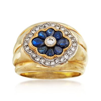 C. 1980 Vintage 1.40 ct. t.w. Sapphire and .35 ct. t.w. Diamond Floral Ring in 14kt Yellow Gold, , default