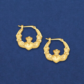14kt Yellow Gold Claddagh Hoop Earrings. 5/8""