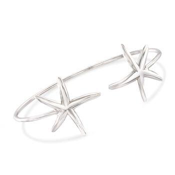 "Italian Sterling Silver Starfish Cuff Bracelet. 7.5"", , default"