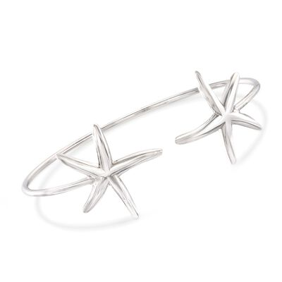 Italian Sterling Silver Starfish Cuff Bracelet, , default