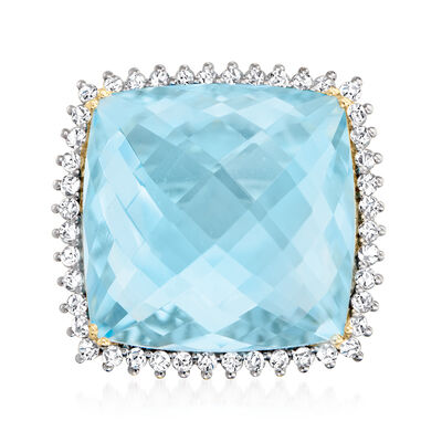 25.00 Carat Swiss Blue Topaz Ring with .80 ct. t.w. Diamonds in 14kt Yellow Gold