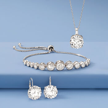 6.50 Carat Round CZ and .20 Carat Baguette CZ Pendant Necklace in Sterling Silver, , default