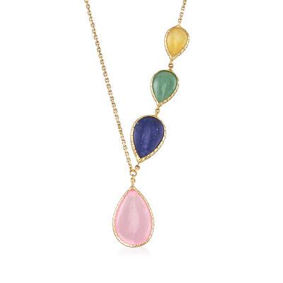 Italian Multicolored Quartzite and Aventurine Necklace in 14kt Yellow Gold, , default