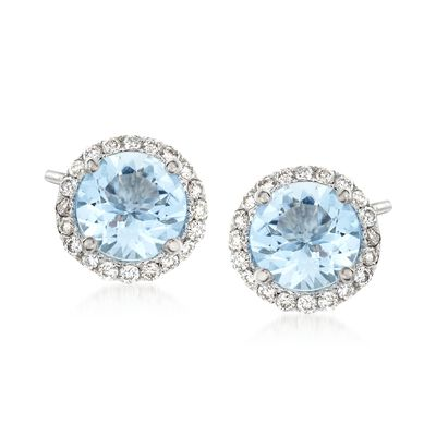 1.30 ct. t.w. Aquamarine and .20 ct. t.w. Diamond Halo Stud Earrings in 14kt White Gold, , default
