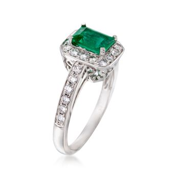 1.00 Carat Emerald and .50 ct. t.w. Diamond Ring in 14kt White Gold