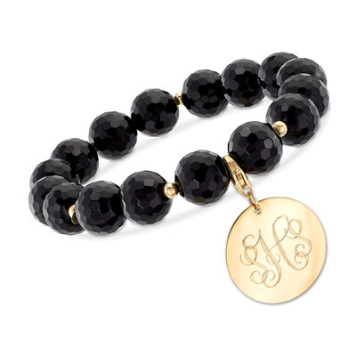 Black Onyx Bead Bracelet with Removable 14kt Yellow Gold Personalized Disc, , default