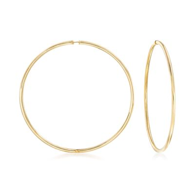 2.5mm 14kt Yellow Gold Endless Hoop Earrings, , default
