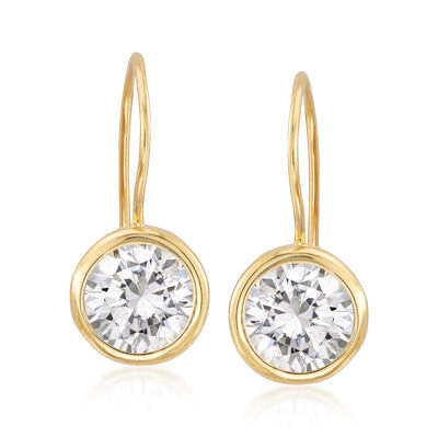 7.00 ct. t.w. Bezel-Set CZ Drop Earrings in 14kt Gold Over Sterling, , default
