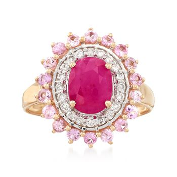 1.50 Carat Burmese Ruby and .60 ct. t.w. Pink Sapphire Ring With .21 ct. t.w. Diamonds in 14kt Yellow Gold, , default