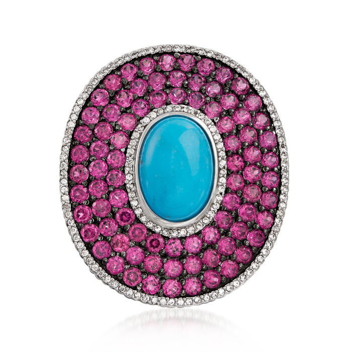 Turquoise and 7.25 ct. t.w. Multi-Gem Frame Ring in Sterling Silver